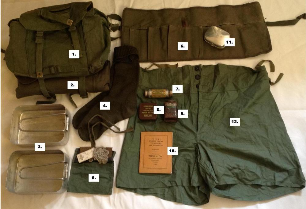 1944 Pattern Small Pack and Contents