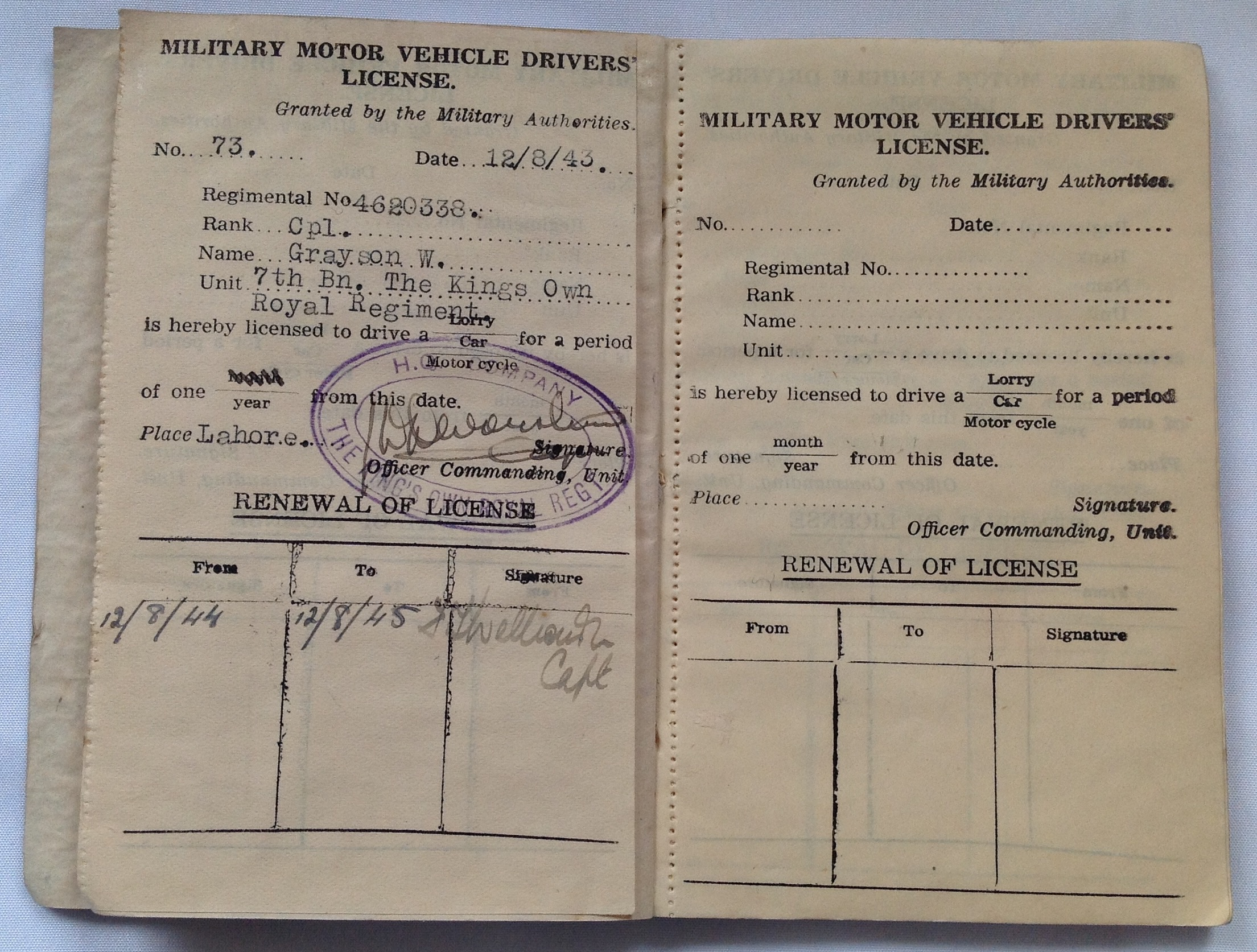 Indian Army Driving License | Tales from the Supply Depot