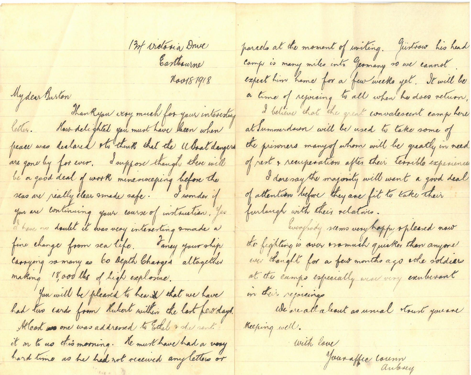 WW1 Post Armistice Day Letter | Tales from the Supply Depot