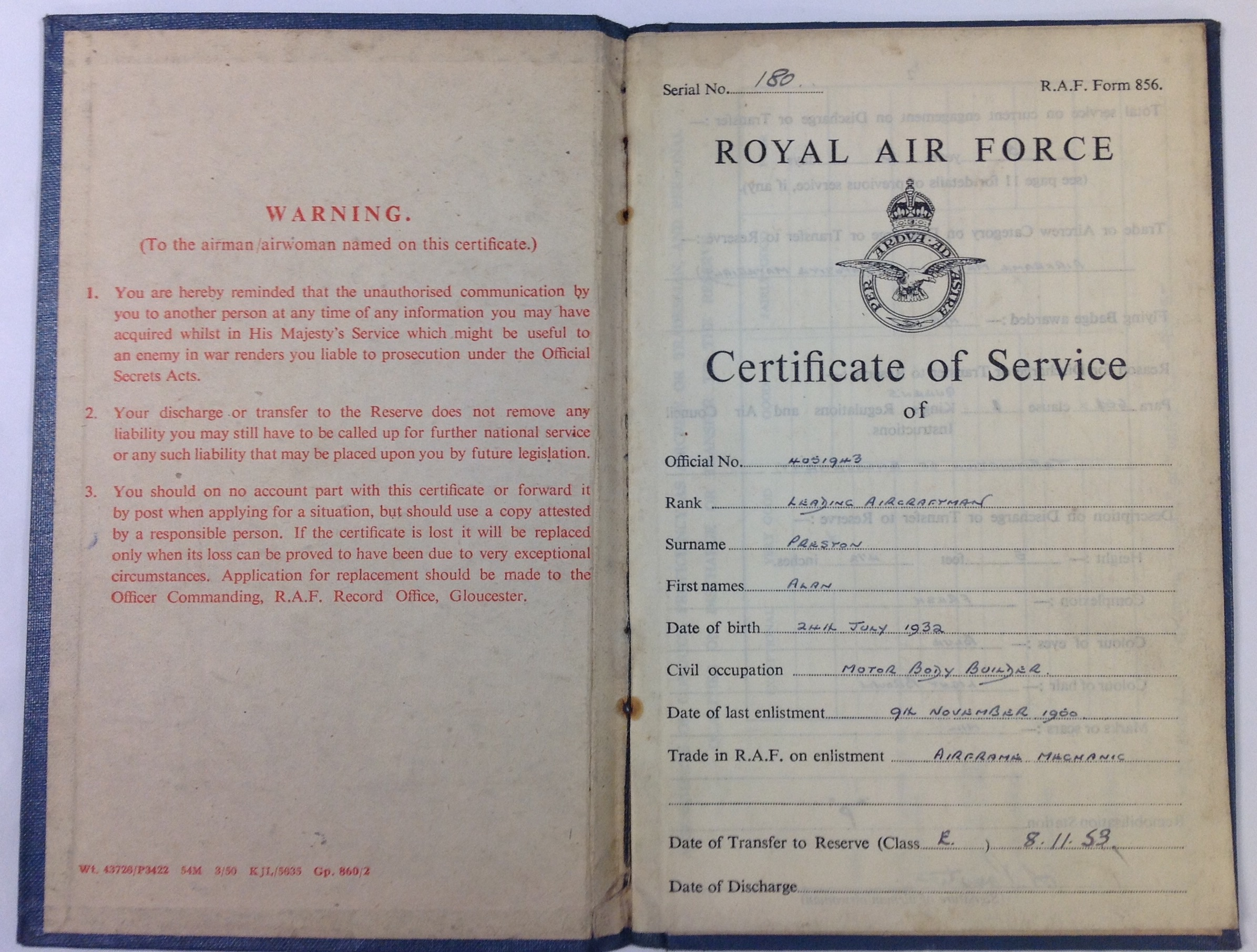 Raf certificate of service tales from the supply depot opening the certificate the first page has space for details of the airmen in this case leading aircraftmen alan parston image 1betcityfo Images