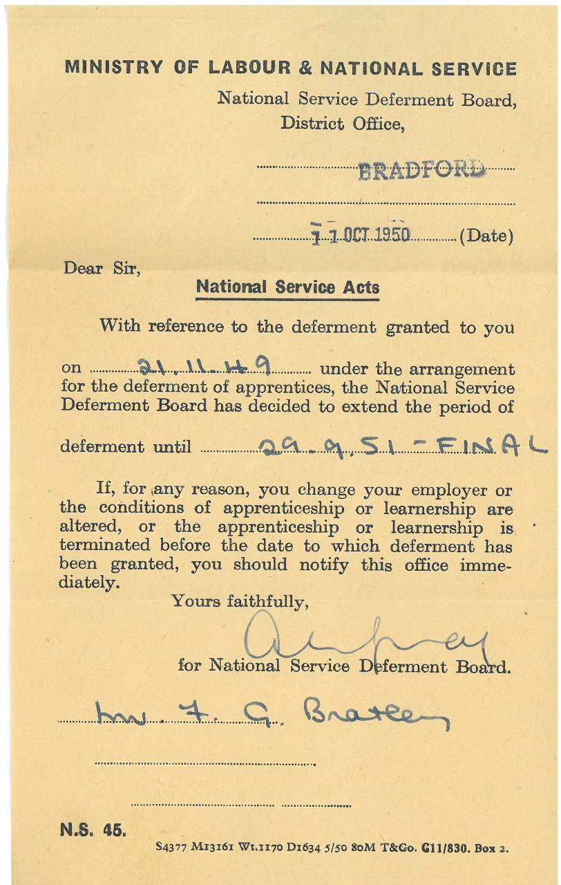 National service deferral letter tales from the supply depot national service deferral letter altavistaventures Images